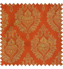 Orange red beige color beautiful damask design floral leaf borders swirl vertical thin lines polyester texture base fabric main curtain
