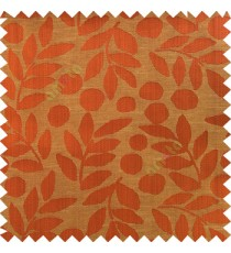 Orange red beige color beautiful floral twigs circles texture leaves pattern vertical stripes horizontal lines main curtain