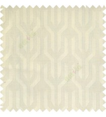 Beige color geometric designs funnel shape vertical continuous pattern with thin lines polyester base fabric main curtain
