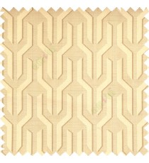 Light brown grey color geometric designs funnel shape vertical continuous pattern with thin lines polyester base fabric main curtain