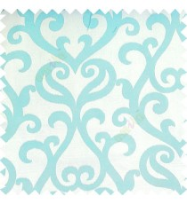 Blue white color traditional big simple damask patterns vertical thin stripes texture base fabric polyester main curtain
