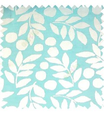 Blue white color beautiful floral twigs circles texture leaves pattern vertical stripes horizontal lines main curtain