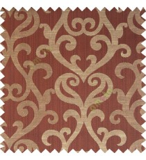 Dark chocolate brown beige color traditional big simple damask patterns vertical thin stripes texture base fabric polyester main curtain