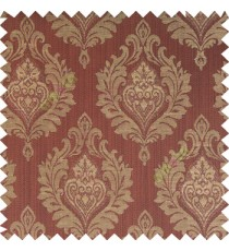 Dark chocolate brown beige color beautiful damask design floral leaf borders swirl vertical thin lines polyester texture base fabric main curtain