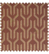 Dark chocolate brown beige color geometric designs funnel shape vertical continuous pattern with thin lines polyester base fabric main curtain