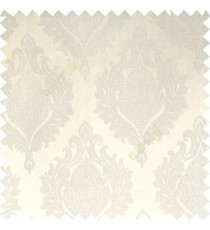 White color beautiful damask design floral leaf borders swirl vertical thin lines polyester texture base fabric main curtain