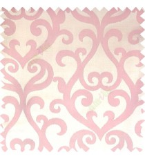 Baby pink cream color traditional big simple damask patterns vertical thin stripes texture base fabric polyester main curtain