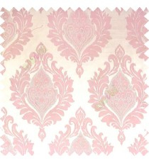 Baby pink cream color beautiful damask design floral leaf borders swirl vertical thin lines polyester texture base fabric main curtain