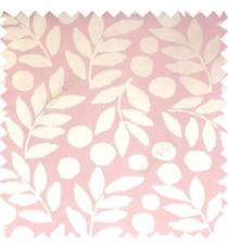 Baby pink cream color beautiful floral twigs circles texture leaves pattern vertical stripes horizontal lines main curtain