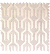 Baby pink cream color geometric designs funnel shape vertical continuous pattern with thin lines polyester base fabric main curtain