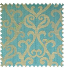 Blue grey beige color traditional big simple damask patterns vertical thin stripes texture base fabric polyester main curtain