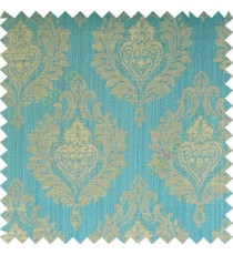 Blue grey beige color beautiful damask design floral leaf borders swirl vertical thin lines polyester texture base fabric main curtain