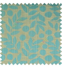 Blue grey beige color beautiful floral twigs circles texture leaves pattern vertical stripes horizontal lines main curtain