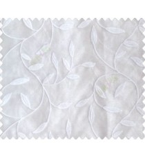 Pure white on white base small leaves on stem continuous embroidery sheer curtain