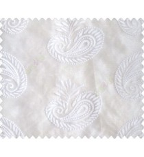 Pure white on white base paisley design embroidered sheer curtain