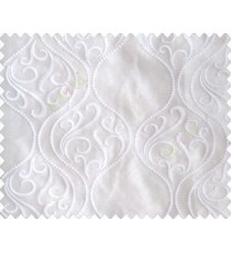 Pure white on white base rich damask on waves design continuous embroidery sheer curtain