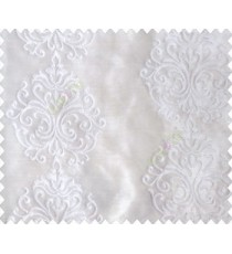 Pure white on white base beautiful vertical damask design continuous embroidery sheer curtain