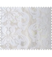 Pure white on white base large damask continuous embroidery sheer curtain