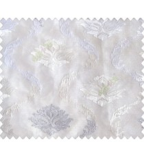 Pure white on white base damask and continuous waves with silver zari embroidery sheer curtain