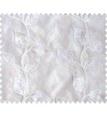 Pure white on white base natural looking leaves continuous rope embroidery sheer curtain