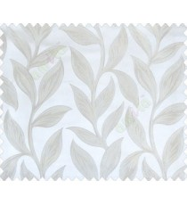 Big beige leaves on stem with embossed look on half white cream shiny fabric main curtain