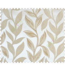 Big beige brown leaves on stem with embossed look on half white cream shiny fabric main curtain