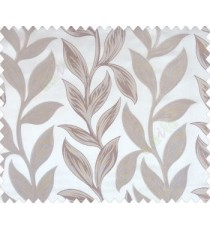 Big beige brown leaves on stem with embossed look on khaki brown shiny fabric main curtain