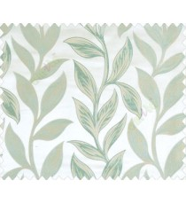 Big aqua blue green beige leaves on stem with embossed look on cream shiny fabric main curtain