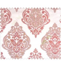 Large maroon red beige damask with embossed look on light brown shiny fabric main curtain