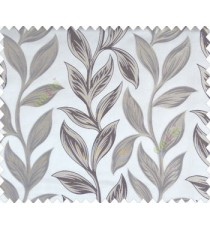 Big beige dark brown leaves on stem with embossed look on half white cream shiny fabric main curtain