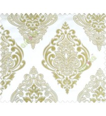 Large green beige damask with embossed look on half white cream shiny fabric main curtain