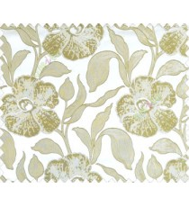 Large green beige leaf and big flower with embossed look on half white cream shiny fabric main curtain