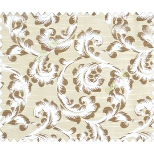 Traditional ivory large scroll floral self design beige dark brown silver main curtain