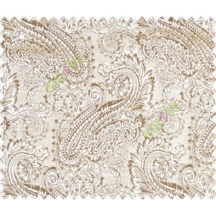 Traditional ivory large paisley floral self design beige dark brown silver main curtain