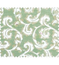 Traditional ivory large scroll floral self design beige aqua blue green silver main curtain