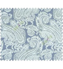 Traditional ivory large paisley floral self design beige royal blue aqua brown silver main curtain