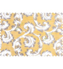 Traditional ivory large scroll floral self design mustard yellow beige silver main curtain