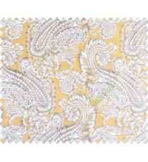 Traditional ivory large paisley floral self design mustard yellow beige silver main curtain