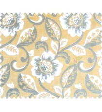 Large flowers and leaves mustard yellow beige silver brown main curtain