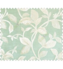 Traditional floral with big leaves on stem on Aqua blue green base main curtain