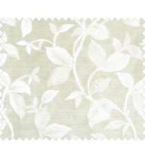 Traditional floral with big leaves on stem on khaki brown base main curtain