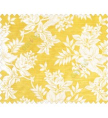 Traditional floral design Beige Gold flowers on Mustard Yellow base main curtain