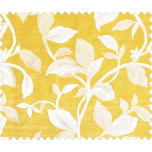 Traditional floral with big leaves on stem on Mustard Yellow base main curtain