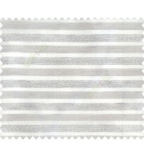 Horizontal Vertical Stripes self design embossed Grey color lines on White base color double width sheer curtain
