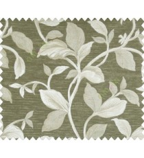Traditional floral with big leaves on stem on Dark Grey Beige base main curtain