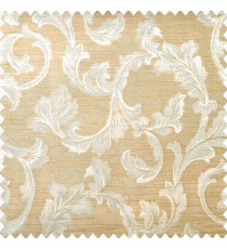 Beige and light brown color traditional floral leaf swirl designs with texture finished horizontal lines polyester main curtain