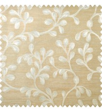 Beige and light brown color beautiful natural hanging leaf designs texture horizontal lines polyester main curtain
