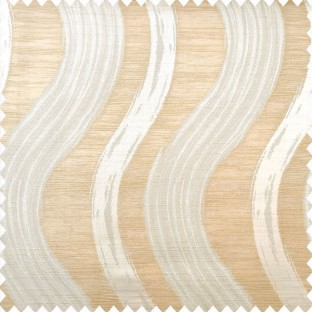 Beige and light brown color complete texture finished vertical wave bold stripes with horizontal lines polyester main curtain