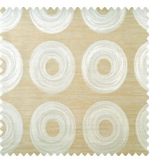 Beige and light brown color geometric circles design shapes texture layers with horizontal lines polyester main curtain