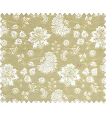 Beautiful Chinese Flower with Gold border with small buds and leaves continuous design on Grey Beige main curtain